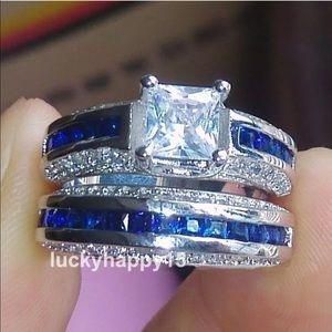 White & Blue Sapphires 14 KT Gold Filled R…